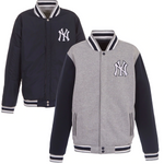 New York Yankees JH Design Embroidered Reversible Full Snap Fleece Jacket - Gray
