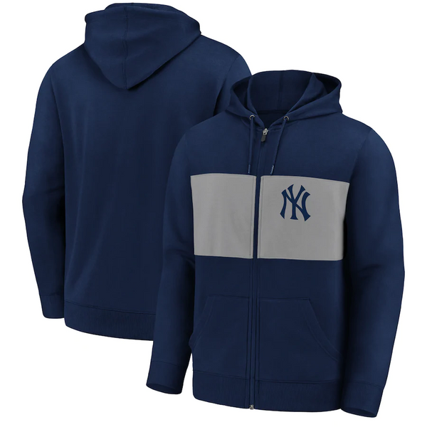 New York Yankees Fanatics Branded Team Twill Full-Zip Hoodie Jacket - Navy