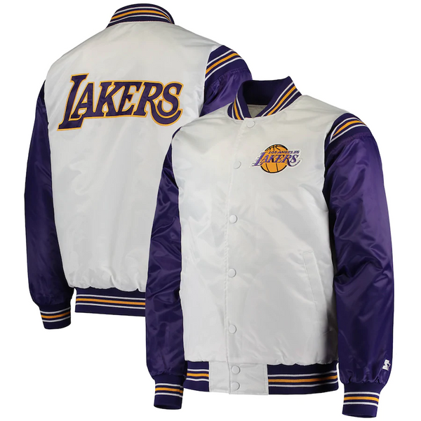Los Angeles Lakers Starter Renegade Varsity Satin Full-Snap Jacket – White/Purple