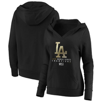 Los Angeles Dodgers Fanatics Branded Women's 2020 World Series Champions Parade Crossover Neck Pullover Hoodie - Black