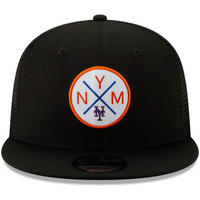 New York Mets New Era Vert Trucker 9FIFTY Adjustable Snapback Hat - Black