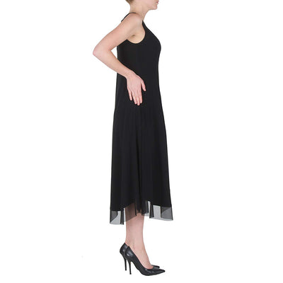 Long Dress with Mesh Trim
