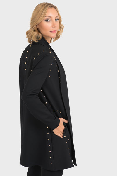 Black Swing Coat with Gold Studs