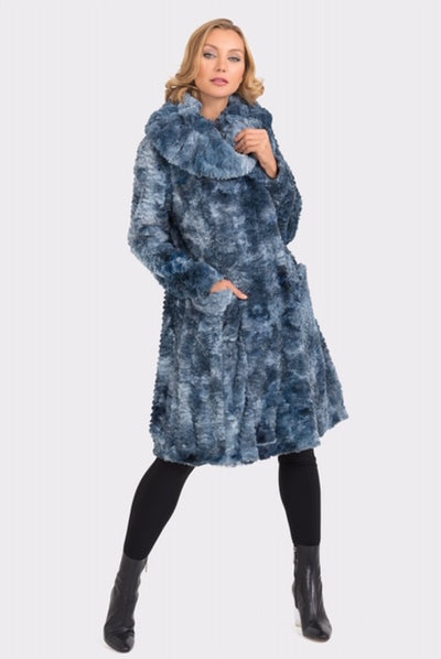 Blue Faux Fur Coat