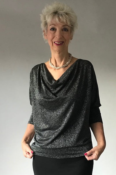 Cowl Neck Black and Silver Top