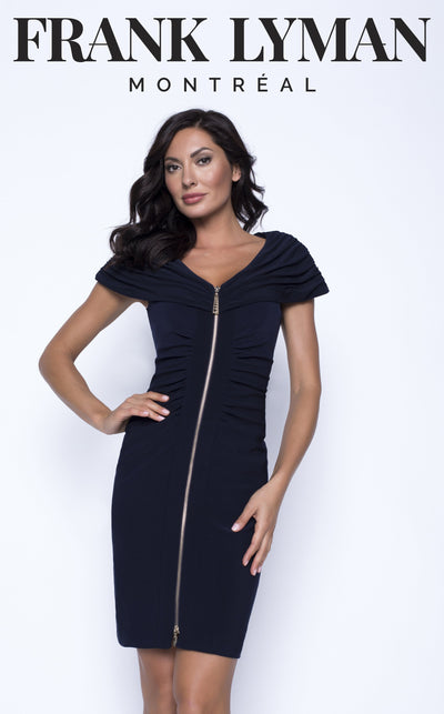 Zip Front Cap Sleeve Dress