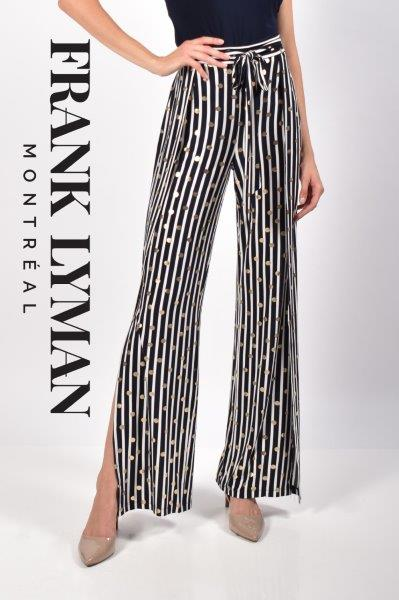 Navy Stripe With Gold Spots Pant