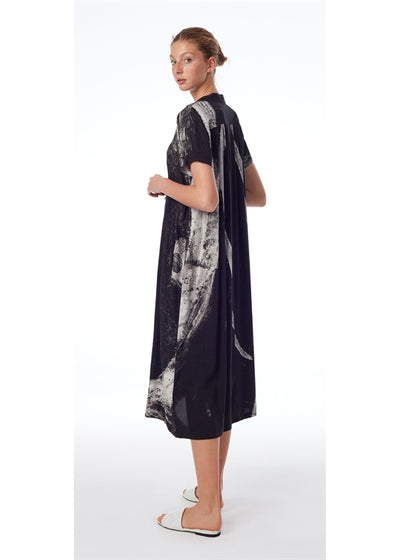 Linen And Viscose Printed Dress