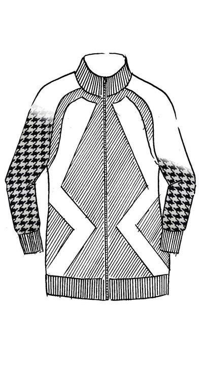 Houndstooth Sleeve Zipped Jacket