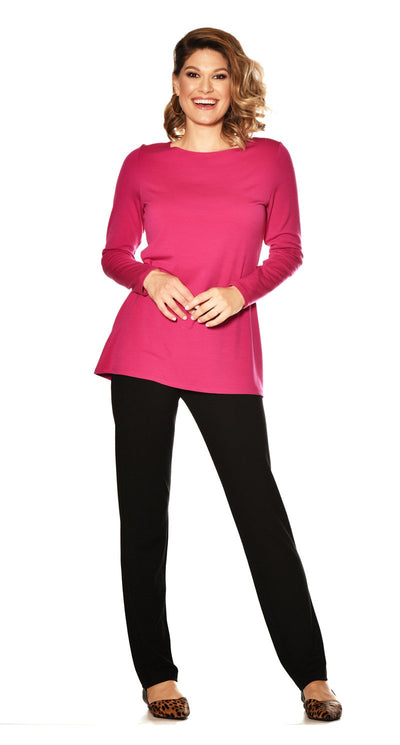 Banded Boat Neck Long Sleeve Top
