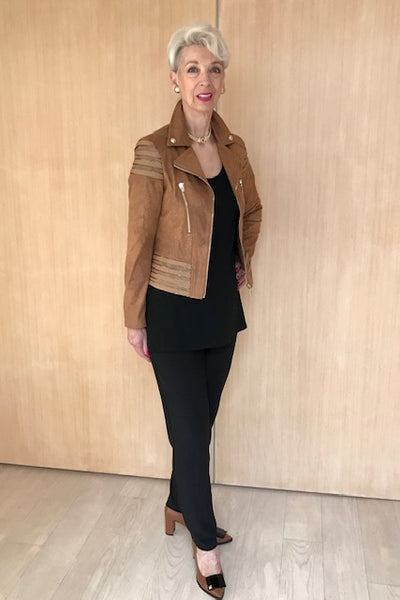 Chestnut Gold Zipped Crop Jacket