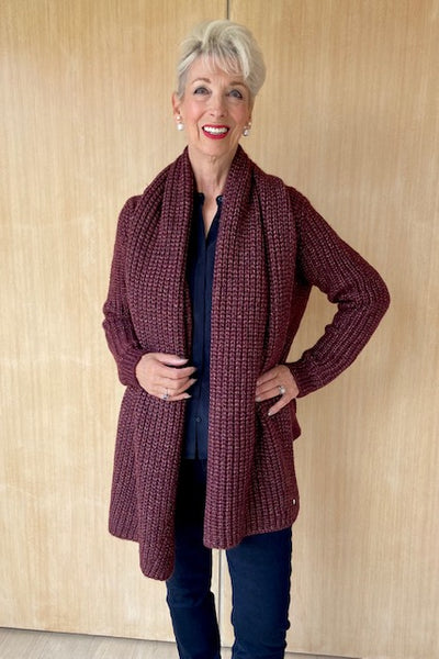 Brax Plum Ribbed Cardigan