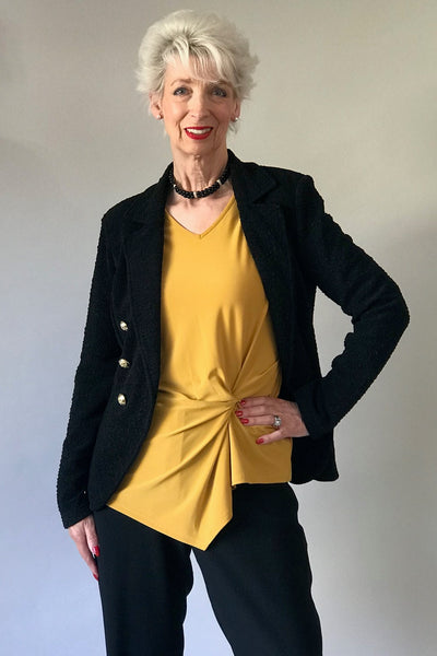 Mustard or Black Tuck Top