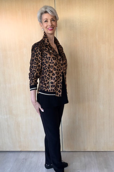 Animal Print Cropped Jacket