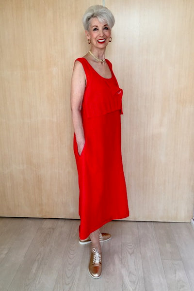 Linen Dress With Knitted Overpiece