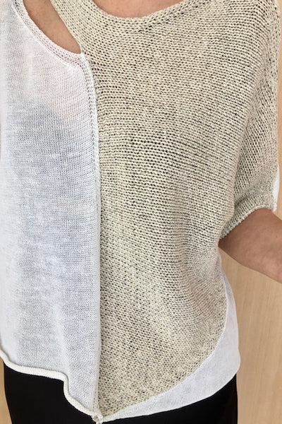 Textured Linen Cut Out Top