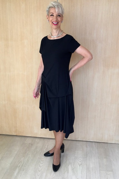 Multi Tuck Boat Neck Cap Sleeve Dress
