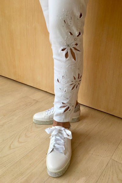 Frank Lyman  White Beaded Jeans