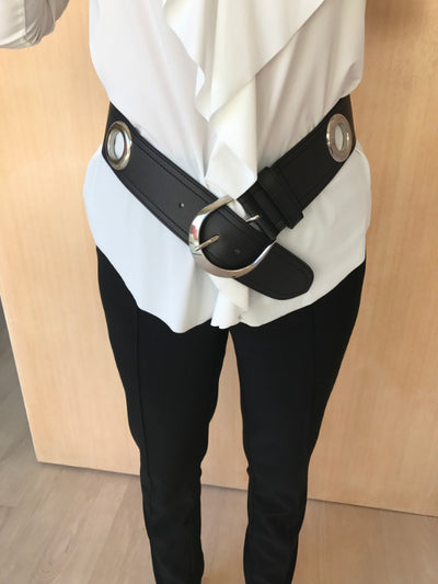 Large Eyelet Leather Belt