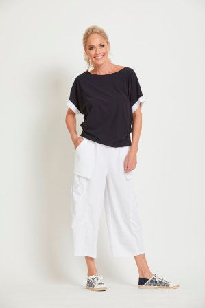 Boat Neck Tuck Side White Cuffed Top