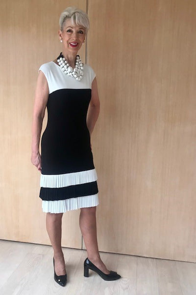 Black/Ivory With pleats Dress