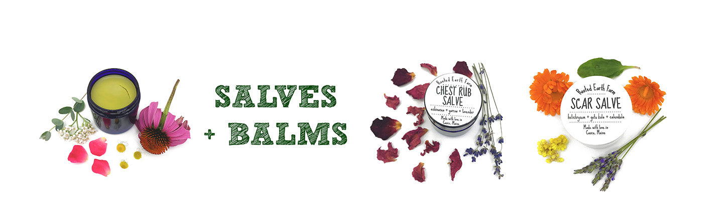 Herbal organic salves and balms for dry skin, scars, chest rub