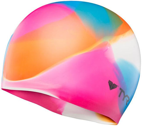 TYR  Kaleidoscope Swim Cap LCSKAL-960  (Pink/Blue/Orange)