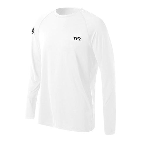 TYR  Male Long Slv Swim Shirt SWLMH7A-100 (White)