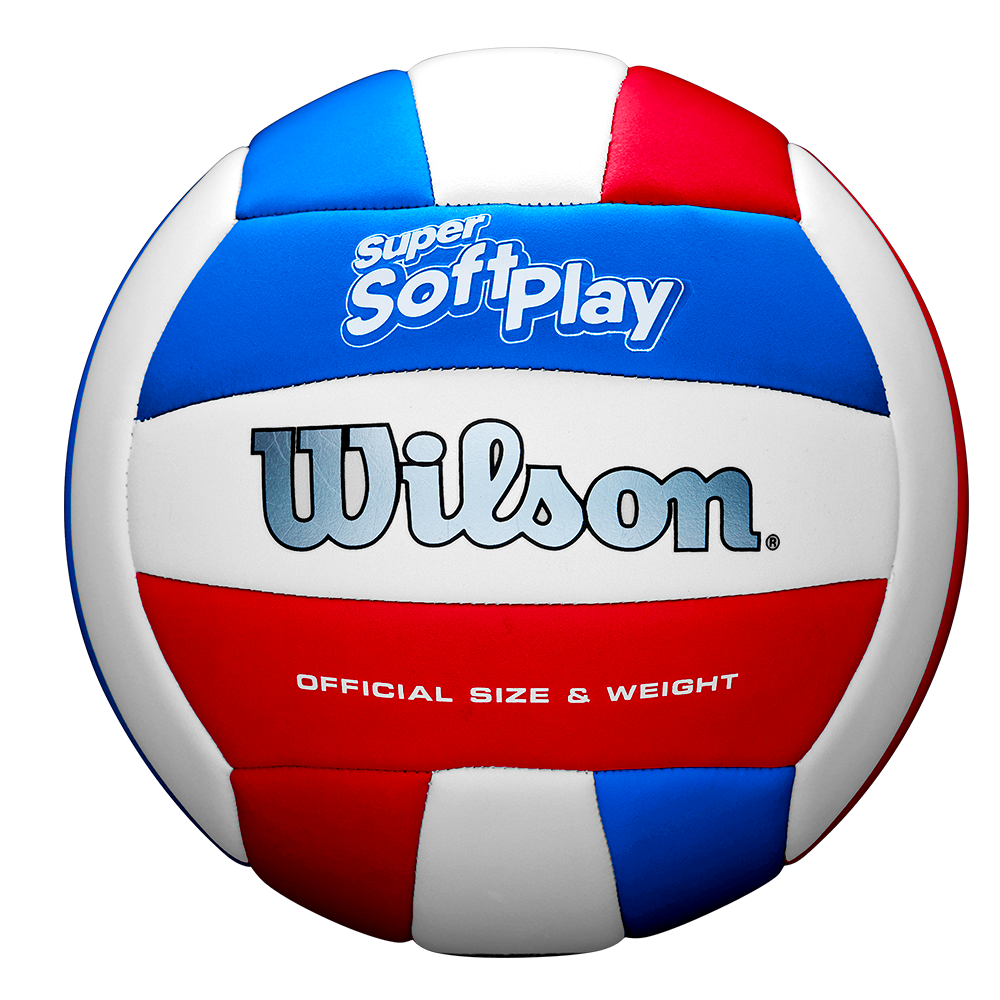 SUPER SOFT PLAY VOLLEYBALL WHITE/RED/BLUE