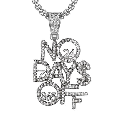 White Gold Iced No days Off Necklace