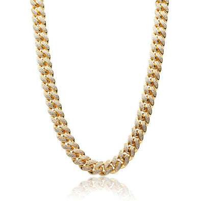 13mm 14K Gold Iced Cuban Link Chain