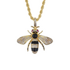 14K Gold Iced Bee Pendant