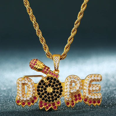 14K Gold Iced Dope Pendant