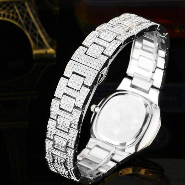 18K White Gold Finish Stainless Steel Iced Watch
