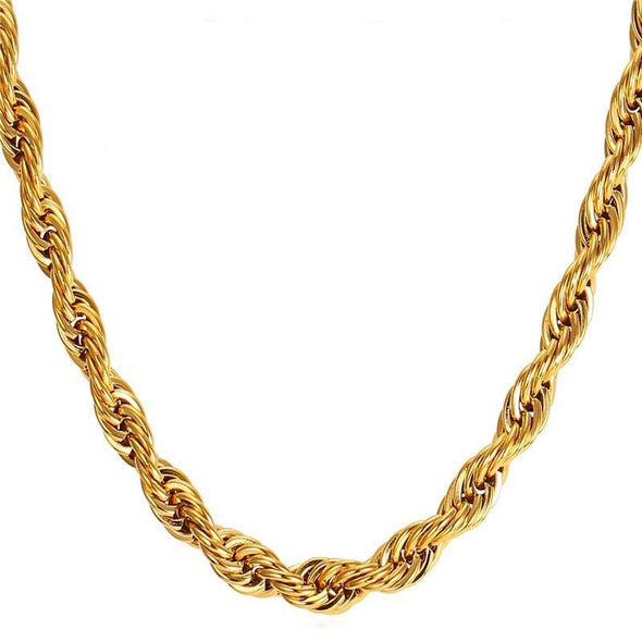 9mm 14K Gold Rope Chain