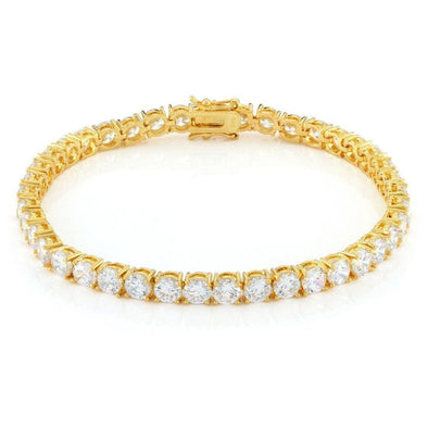 gold plated clear cz mens tennis hip hop bracelet