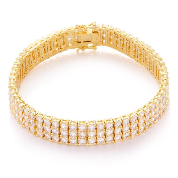 3 Row, 14K Gold Tennis Bracelet