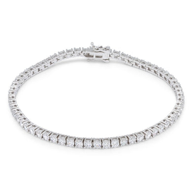 3mm, White Gold Single Row Tennis Bracelet