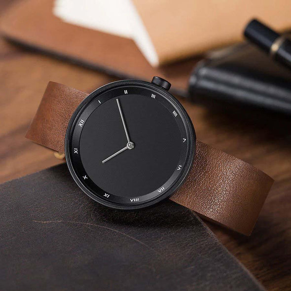 Simple Leather Strap Watch (Black)