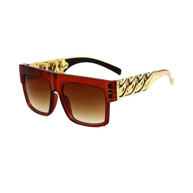 Gold Key Shades with Glossy Brown Frame