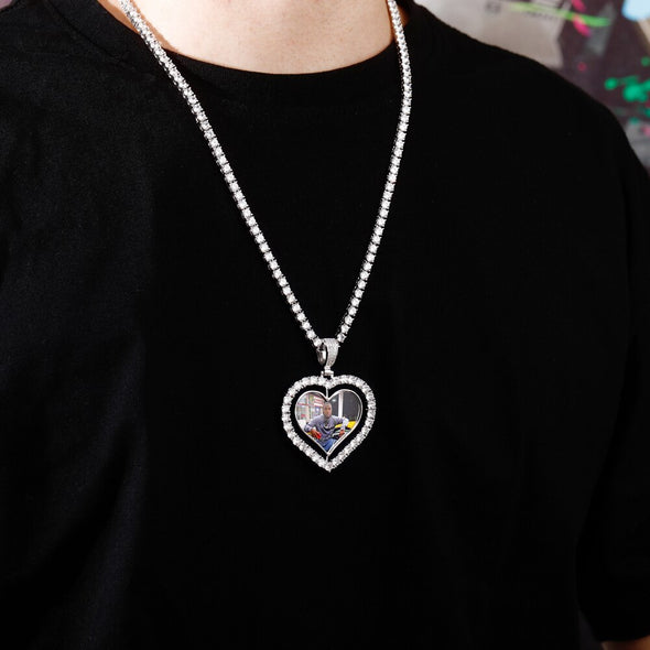 Custom Spin Heart Pendant Necklace