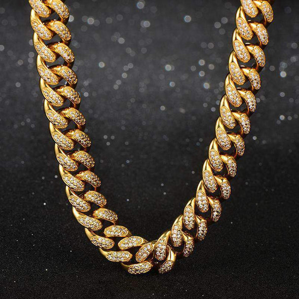 18K Yellow Gold PVD Plated Finish Iced Cuban Link