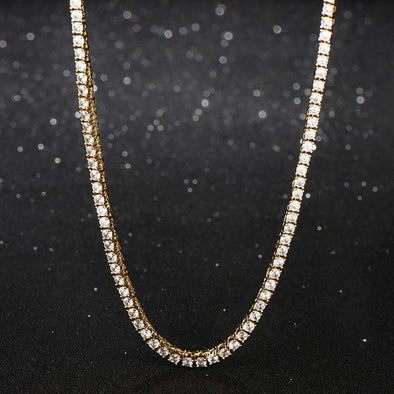 3mm 18K Yellow Gold Finish S925 Silver Tennis Necklace