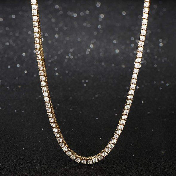 6mm 18K Yellow Gold Finish S925 Silver Tennis Necklace