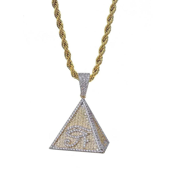 14K Gold Iced Egyptian Pyramid Eye of Horus