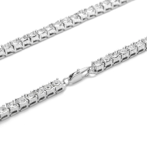 5mm White Gold Iced Tennis Chain Bundle