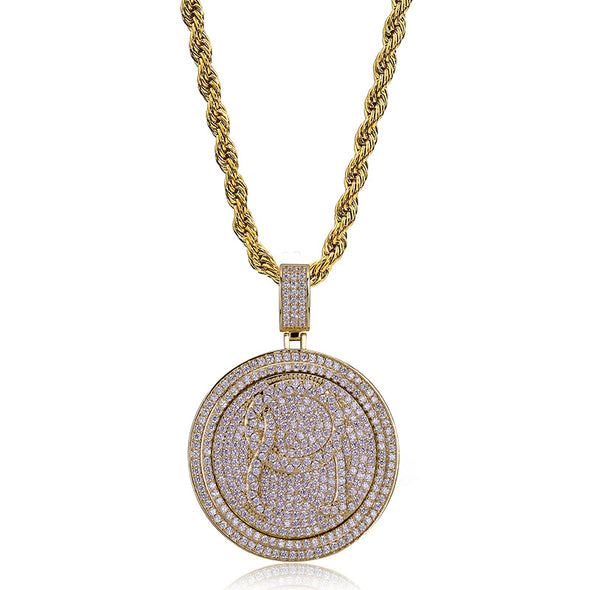 14K Gold Iced Rotating QC Pendant