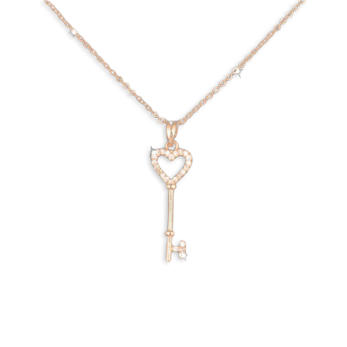 14K Gold Iced Key Heart Necklace