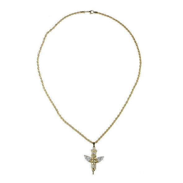 14K Gold Iced Angel Necklace