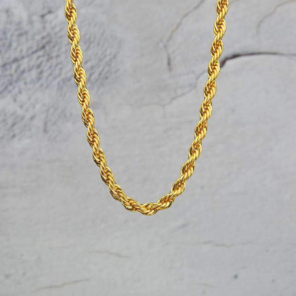 6mm 18K Gold Finish S925 Silver Rope Chain